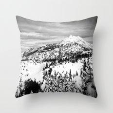 Snowy Mountain Peak Black and White Throw Pillow