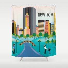 New York City, New York - Skyline Illustration by Loose Petals Shower Curtain