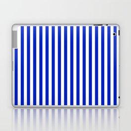 Cobalt Blue and White Vertical Deck Chair Stripe Laptop & iPad Skin