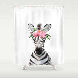 Baby Zebra with Flower Crown Shower Curtain