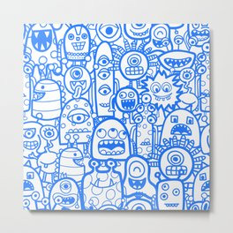 Blue Doodle Aliens And Monsters Boy Pattern Metal Print