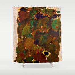 Egon Schiele Sunflowers Shower Curtain