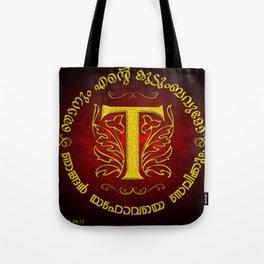 Joshua 24:15 - (Gold on Red) Monogram T Tote Bag