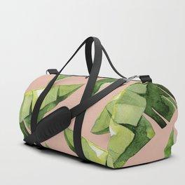 Banana Leaves 2 Green And Pink Duffle Bag