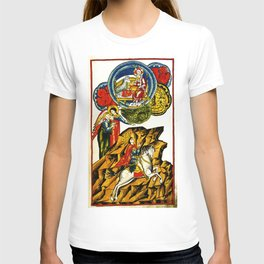 Lifting the First Seal of Apocalypse and the White Rider of War T-shirt