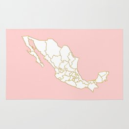 Pink Mexico map Rug