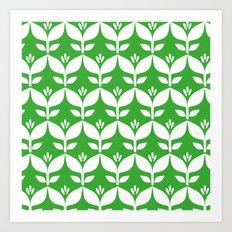 Grass green retro tulip floral Art Print