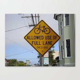 Bike Sign San Francisco Canvas Print
