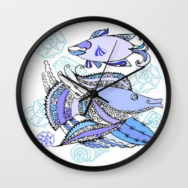 Two  Fishes and Cockleshells Wall Clock