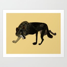 Black wolf totem Art Print