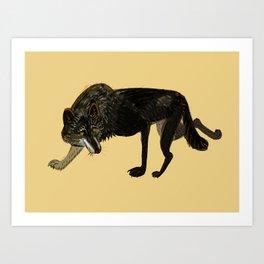Black wolf totem (nubilus) Art Print