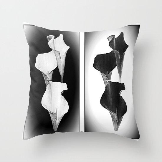 Calla Lillies. Black + White. Throw Pillow