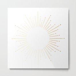 Sunburst Gold Copper Bronze on White Metal Print