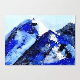 Semi-Abstract Watercolor Mountains Canvas Print