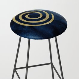 Infinity Navy Blue And Gold Abstract Modern Art Painting Bar Stool