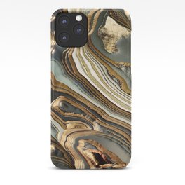 White Gold Agate Abstract iPhone Case