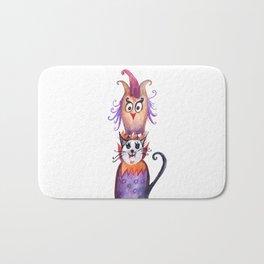 Owl and Cat Halloween Friends Bath Mat