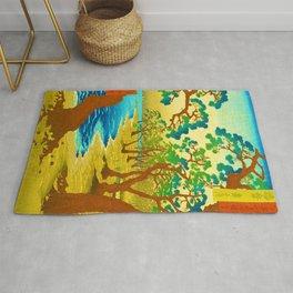 Japanese Cherry Blossom Japanese Woodblock Art Print Rug