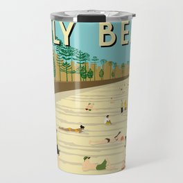 Manly Beach Retro Art Print Travel Mug