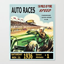 1936 Grand Prix Auto Racing Poster Advertisement - 150 Miles in Full Color Canvas Print