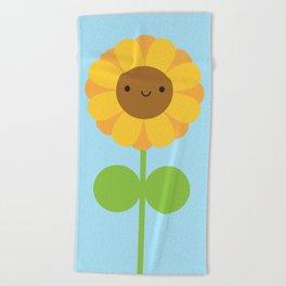 Kawaii Sunflower Beach Towel