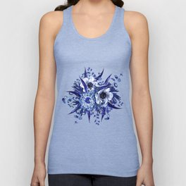 Blue China Porcelain, Flower, Floral Unisex Tank Top