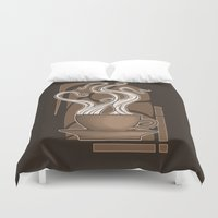 nouveau Duvet Covers featuring Coffee Nouveau by Perdita