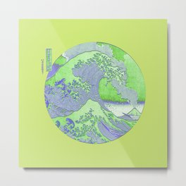 Great Wave Off Kanagawa Mount Fuji Eruption Minimalist Metal Print