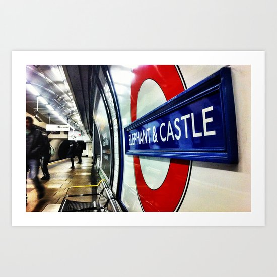 Tube signs-Elephant and Castle Art Print