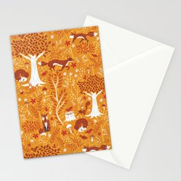 Foxes in a Forest of Fall Trees Stationery Cards