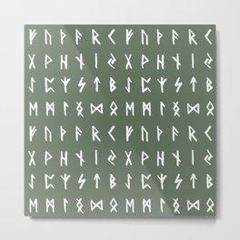 Nordic Runes // Finlandia Green Metal Print