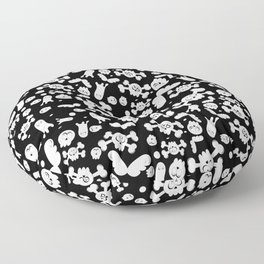 Skulls and ghosts pattern in black Floor Pillow