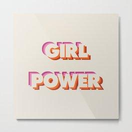 Girl Power // in Orange Pink Beige Metal Print