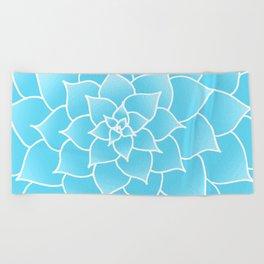 Blue Abstract Succulent Flower Beach Towel