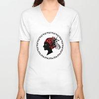 greek V-neck T-shirts featuring Greek motive by Donna Amoralez