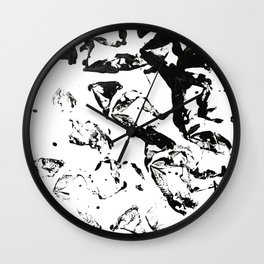 abstract paint strokes - black and white Wall Clock