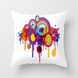 Color Paint Blobs Throw Pillow