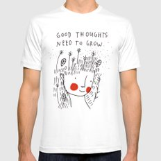 Good thoughts need to grow Mens Fitted Tee MEDIUM White