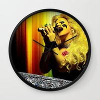 hedwig Wall Clocks featuring Midnight Radio - Hedwig and the Angry Inch by Danielle Tanimura