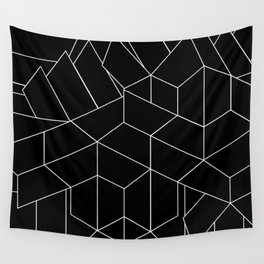 White Lines on Black III Wall Tapestry