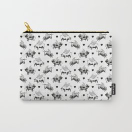 Flying Pigs   Vintage Pigs with Wings   Black and White   Carry-All Pouch