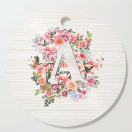 Initial Letter A Watercolor Flower Cutting Board