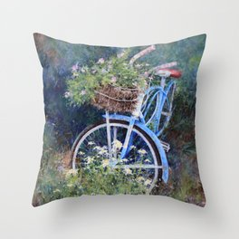 Blue Bicycle Between the Weeds Throw Pillow