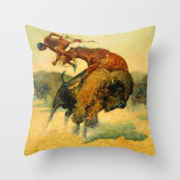 "Frederic Remington Western Art ""Episode – Buffalo Hunt"" Throw Pillow"