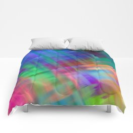 Abstract pink teal lilac green watercolor brushstrokes Comforters