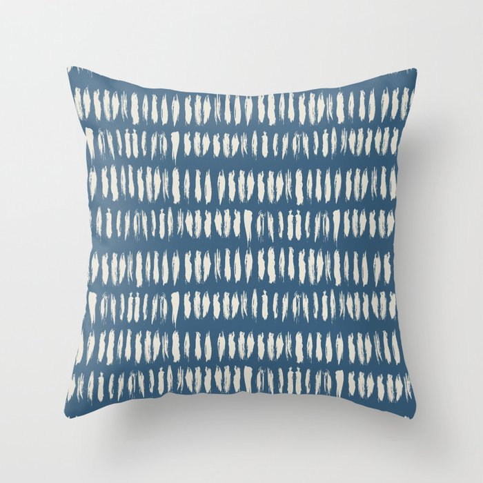 Linen White & Blue Bold Grunge Vertical Stripe Dash Line Pattern Inspired by 2020 Color of the Year Throw Pillow