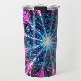 Winter violet glittered Snowflake or flower Background Travel Mug
