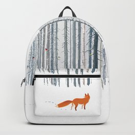 Fox in the white snow winter forest illustration Backpack