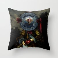 regina mills Throw Pillows featuring Steak Regina by DIVIDUS