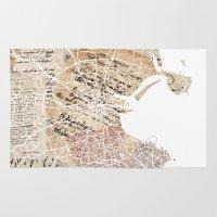 dublin Area & Throw Rugs featuring Dublin map by Mapsland